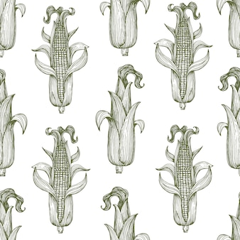 Vector seamless pattern with corn on the cob with leaves.