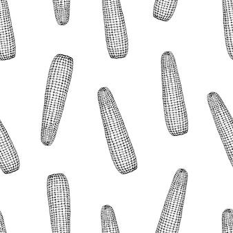 Бесшовный узор вектор с кукурузой в початках.