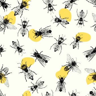 Vector seamless pattern with crawling bees.