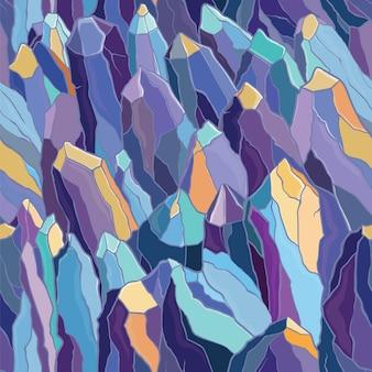 結晶と石のシームレスなパターンベクトル。紫、青、黄色の色。のテンプレート。