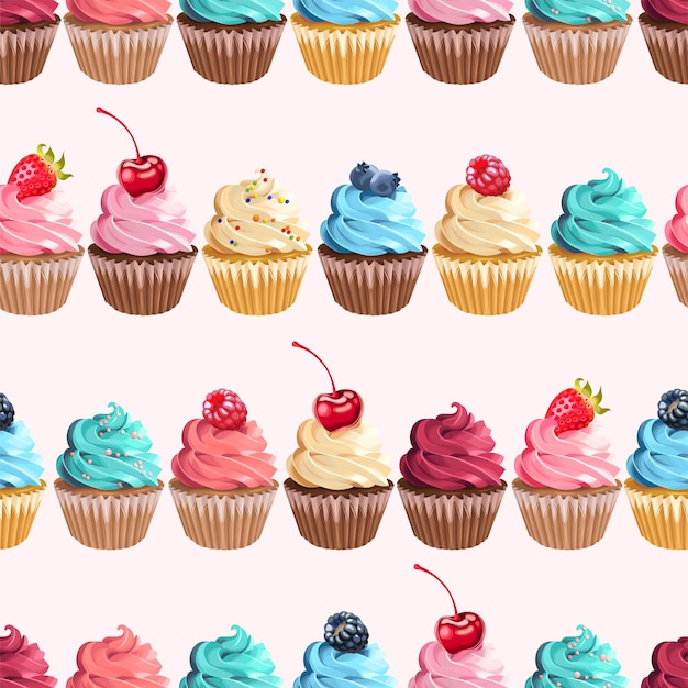 Vector seamless pattern with cupcake