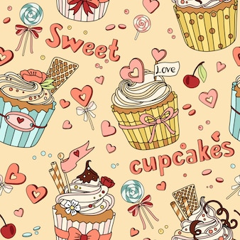 Vector seamless pattern with cupcakes