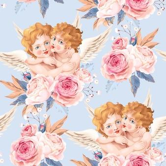 キューピッドとバラのベクトルのシームレスなパターン