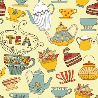 Бесшовный узор вектор с чашки и чайники.