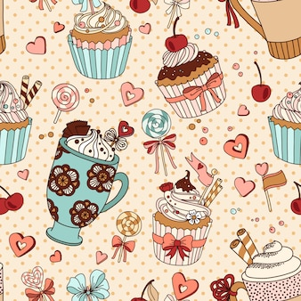 Vector seamless pattern with cups of coffee and cupcakes
