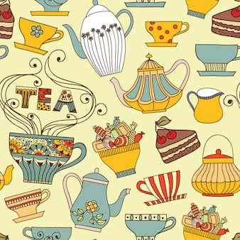 Vector seamless pattern with cups and teapots.