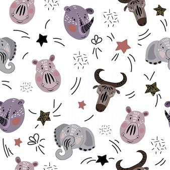 귀여운 아프리카 동물 벡터 원활한 패턴