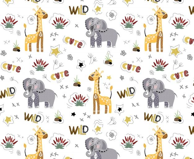 화이트에 귀여운 아프리카 동물들과 함께 원활한 패턴 벡터