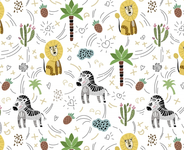 Vector seamless pattern with cute african animals on white