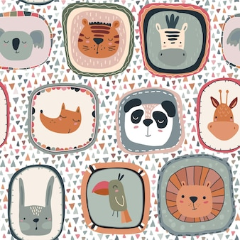 Vector seamless pattern with cute animal faces in frames simple scandinavian style
