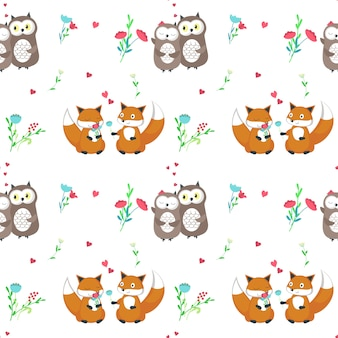Vector seamless pattern with cute animals couples