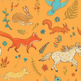 Vector seamless pattern with cute animals and plants Premium Vector