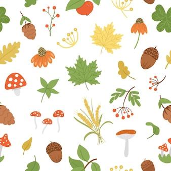 Бесшовный узор вектор с милыми осенними травами. фон с листьями, яблоком, желудями