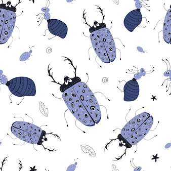 Vector seamless pattern with cute cartoon bug