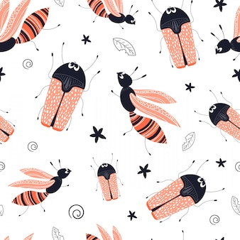 Vector seamless pattern with cute cartoon bug