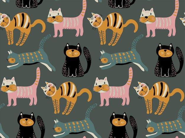 シンプルなフラットスタイルでかわいい猫とシームレスなパターンをベクトルします。