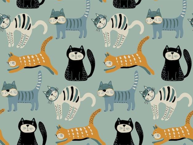 Бесшовный узор вектор с милыми кошками в простом плоском стиле