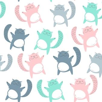 Vector seamless pattern with cute cats. scandinavian motives.