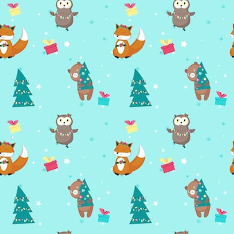 Vector seamless pattern with cute christmas animals