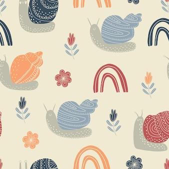 귀여운 다채로운 달팽이와 벡터 원활한 패턴 프리미엄 벡터