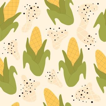 Бесшовный узор вектор с милыми кукурузными початками. осенний сбор урожая, вегетарианские, витамины, овощи. рисованной плоской иллюстрации