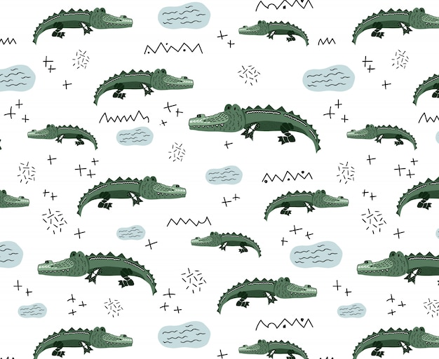 Vector seamless pattern with cute crocodiles