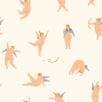 Vector seamless pattern with cute cupids.