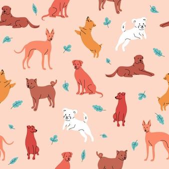 베이지색에 고립 된 귀여운 강아지와 벡터 원활한 패턴