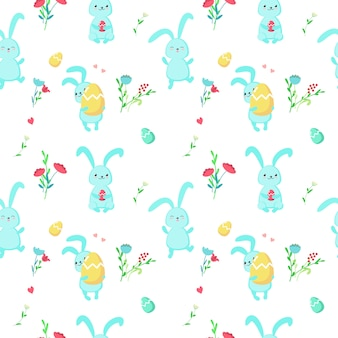 Vector seamless pattern with cute easter rabbits