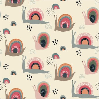 추상 스칸디나비아 스타일의 귀여운 재미있는 무지개 달팽이와 벡터 원활한 패턴