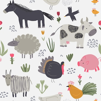 Vector seamless pattern with cute hand drawn farm animals and plants