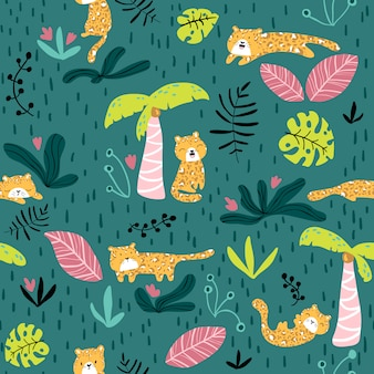 Vector seamless pattern with cute leopard and tropical plants.