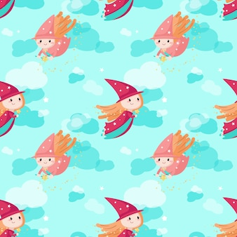 Vector seamless pattern with cute little enchantresses