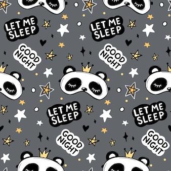 크라운 수면 마스크에 귀여운 팬더 곰, 좋은 밤 레터링 견적 벡터 원활한 패턴