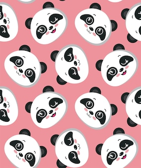 Vector seamless pattern with cute panda faces beautiful endless background for kids design