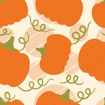 Бесшовный узор вектор с милыми тыквами. осенний урожай, вегетарианство, витамины, овощи. хэллоуин. нарисованная рукой плоская иллюстрация