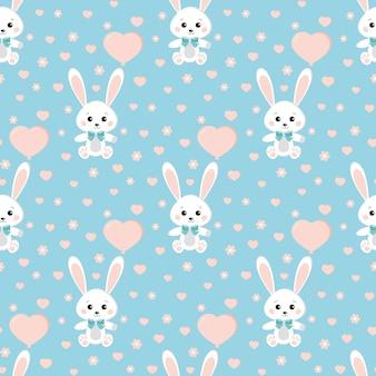 Бесшовный узор вектор с милый кролик или заяц с бабочкой, баллон, сердца, цветы на синем фоне.