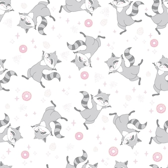 Вектор бесшовный образец с милым енотом, пончиками и леденцами на розовом фоне. векторная иллюстрация