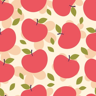 Vector seamless pattern with cute red apples. autumn harvest, vegetarian options, vitamins, fruits, fruit juice. hand drawn flat illustration