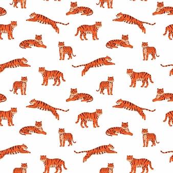 白い背景の上のかわいい虎とシームレスなパターンをベクトルサーカス動物ショー虎年