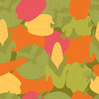귀여운 야채와 함께 벡터 완벽 한 패턴입니다. 호박, 후추, 파프리카, 옥수수, 당근. 가을 수확, 채식주의자, 비타민, 야채. 손으로 그린 평면 그림