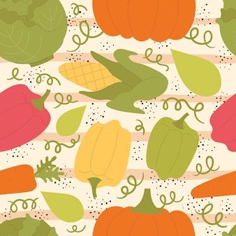 귀여운 야채와 함께 벡터 완벽 한 패턴입니다. 호박, 후추, 파프리카, 옥수수, 당근. 채식주의자, 비타민. 손으로 그린 평면 그림