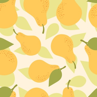 Vector seamless pattern with cute yellow pears. autumn harvest, vegetarian, vitamins, fruits, fruit juice. hand drawn flat illustration