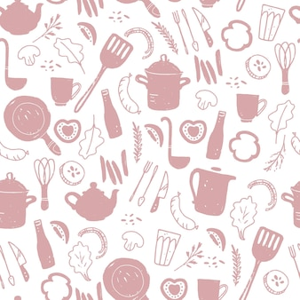 Vector seamless pattern with cutlery and kitchenware elements