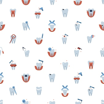 Vector seamless pattern with dentistry icons. dental background