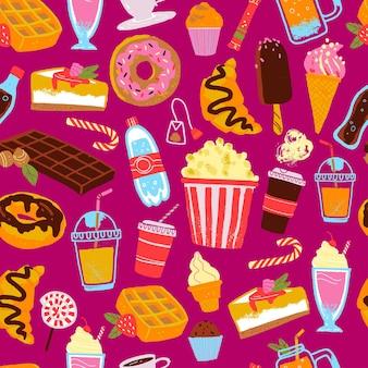 デザート、飲み物、スナックのイラストとシームレスなパターンをベクトルします。