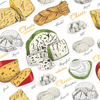 Vector seamless pattern with different cheeses