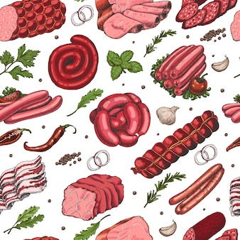 Vector seamless pattern with different color meat products
