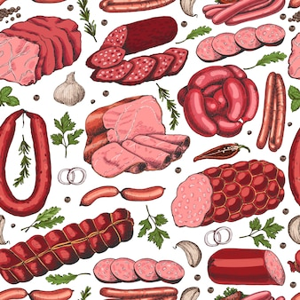 Vector seamless pattern with different meat products