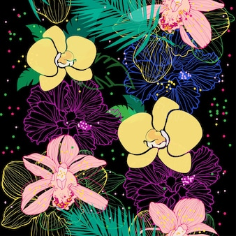 Vector seamless pattern with different pink and yellow orchids on dark background